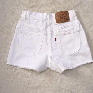 Vintage Levi's white high rise cutoff denim shorts